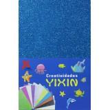 Фоамиран блестящий (прод по 10) голубой 20х30/2мм