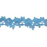 Лента 1,5см цветочн.узор голуб 10ярд