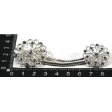 Застежка для кардигана пришивная со стразами арт D409 серебро