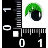 Глазки клеевые бегающ.с ресницами овал 10*15мм (уп.100пар) зелен.