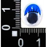 Глазки клеевые бегающ.с ресницами овал 10*15мм (уп.100пар) син.