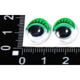 Глазки клеевые бегающ.с ресничками овальн. 12*16мм (уп.100пар) зелен.