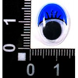 Глазки клеевые бегающ.с ресничками овальн. 12*16мм (уп.100пар) син.