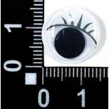 Глазки клеевые бегающ.с ресницами 15мм (уп.100пар) белые