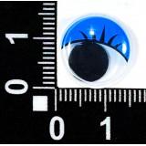 Глазки клеевые бегающ.с ресницами 15мм (уп.100пар) син.