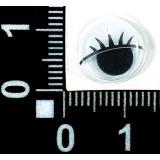 Глазки клеевые бегающ.с ресницами 12мм (уп.100пар) белые