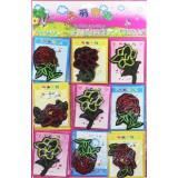 Нашивка  Цветочки,листочки ассорти №3  на планшете(прод.по9шт)