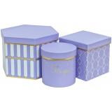 Коробка для цветов 3в1 ТРИ ФОРМЫ (Шестиугольник/куб/цилиндр) 225*200*150  сиренев.1551