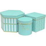 Коробка для цветов 3в1 ТРИ ФОРМЫ (Шестиугольник/куб/цилиндр) 225*200*150  бирюза  1568