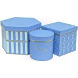 Коробка для цветов 3в1 ТРИ ФОРМЫ (Шестиугольник/куб/цилиндр) 225*200*150  голубой  1575