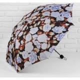Зонт 1767848 «Пионы» механ прорезин ручка 3 слож 8 спиц R 55 см коричневый