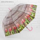 Зонт 3539003 трость полуавтоматический «Тюльпаны» 8 спиц R = 48 см цвет