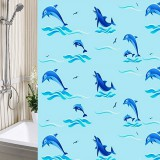 Штора д/душа п/э с кольцами дельфины голубые*40 6905