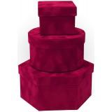 Коробка для цветов 3в1 ТРИ ФОРМЫ (Шестиугольник/куб/цилиндр) 235*210*110  красный  1812