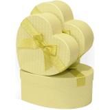 Коробка для цветов 3в1 Сердце с бантом (210*200*90) золото 2178