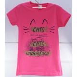 Футболка детс. дев. Cats (4-9 лет) (прод по 5шт) розовая